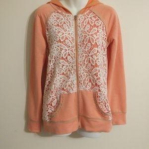 BKE Lounge Coral Full Zip Jacket White Lace Detail